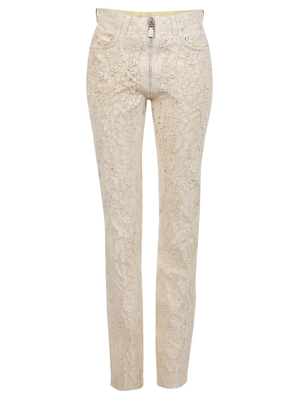 Crackled Painted Slim-fit Pants, Bone White