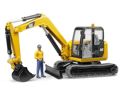 Caterpillar Mini Excavator with Working Arm and Worker