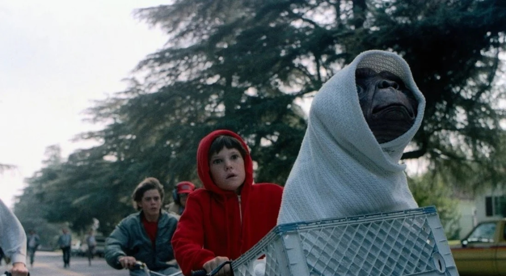 E.T. riding in bike basket from E.T. the Extraterrestrial