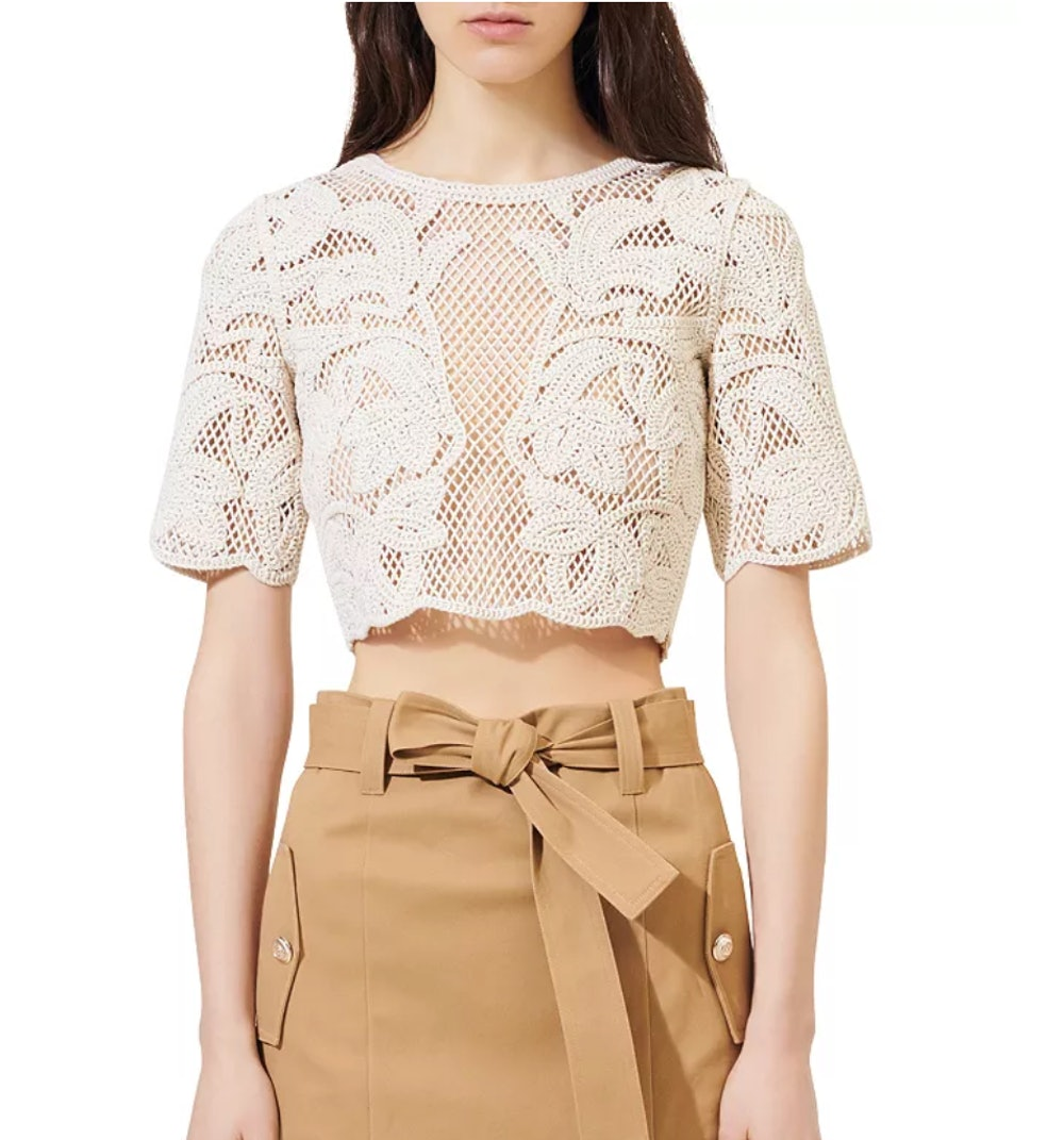 Ibiza Collection Leona Open-Knit Crop Top