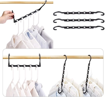 HOUSE DAY Black Space Saving Clothes Hangers (Pack of 10)
