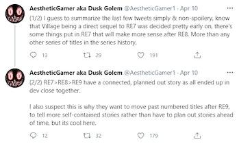 resident evil 9 leaker tweets details about a triology