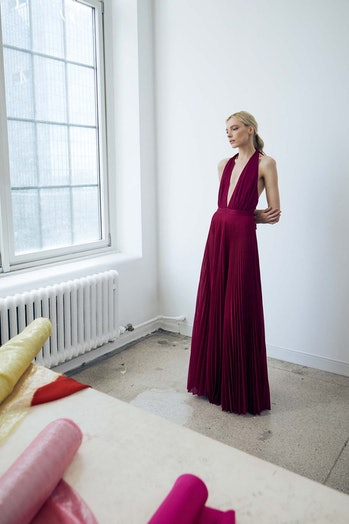 A model in a Halston gown