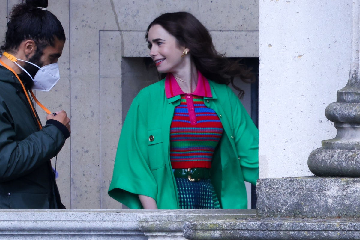Lily Collins on the set of Emily in Paris