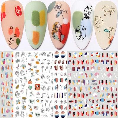 Qdsuh Graffiti Nail Stickers (6 Sheets)