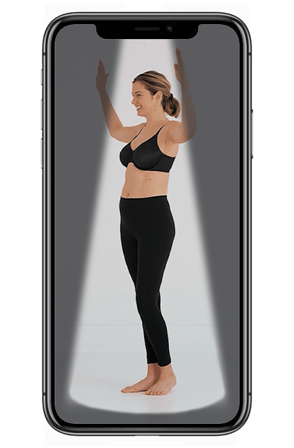 A screenshot of the virtual body imaging used to find the right bra size in Wacoal's mybraFit app.