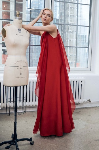 Halston gown worn by a model.