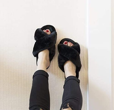 Crazy Lady Fluffy Flip Flop Slippers