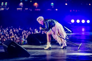 Pink singing on stage in front of audience