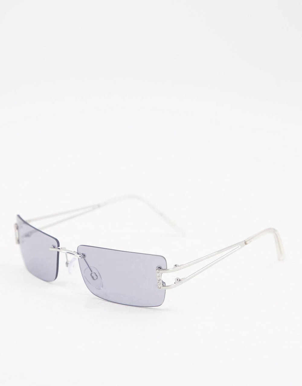 Rimless '90s Square Sunglasses With Diamante Side Cut Out Detail In Silver
