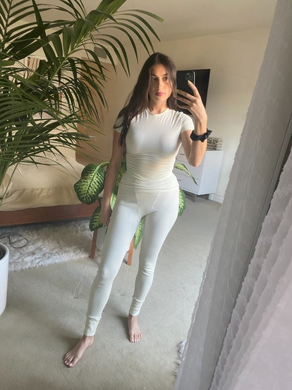 Rebecca Iloulian wearing SKIMS.