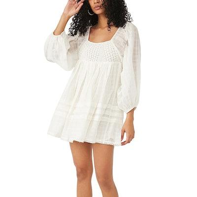 Ari Smocked Crochet-Trim Dress