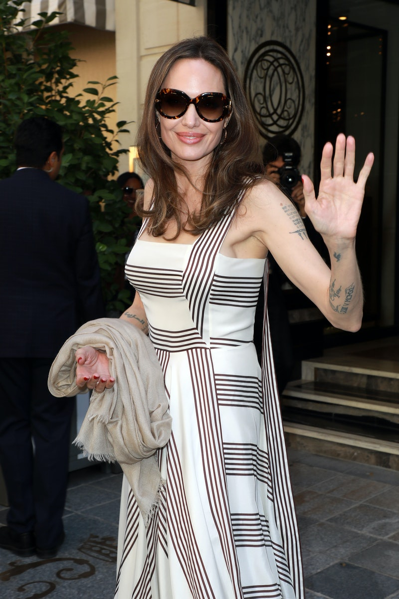 Angelina Jolie is seen outside her hotel on July 09, 2019 in Paris, France.