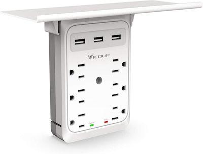 VICOUP 9 Port Multi Plug Wall Outlet