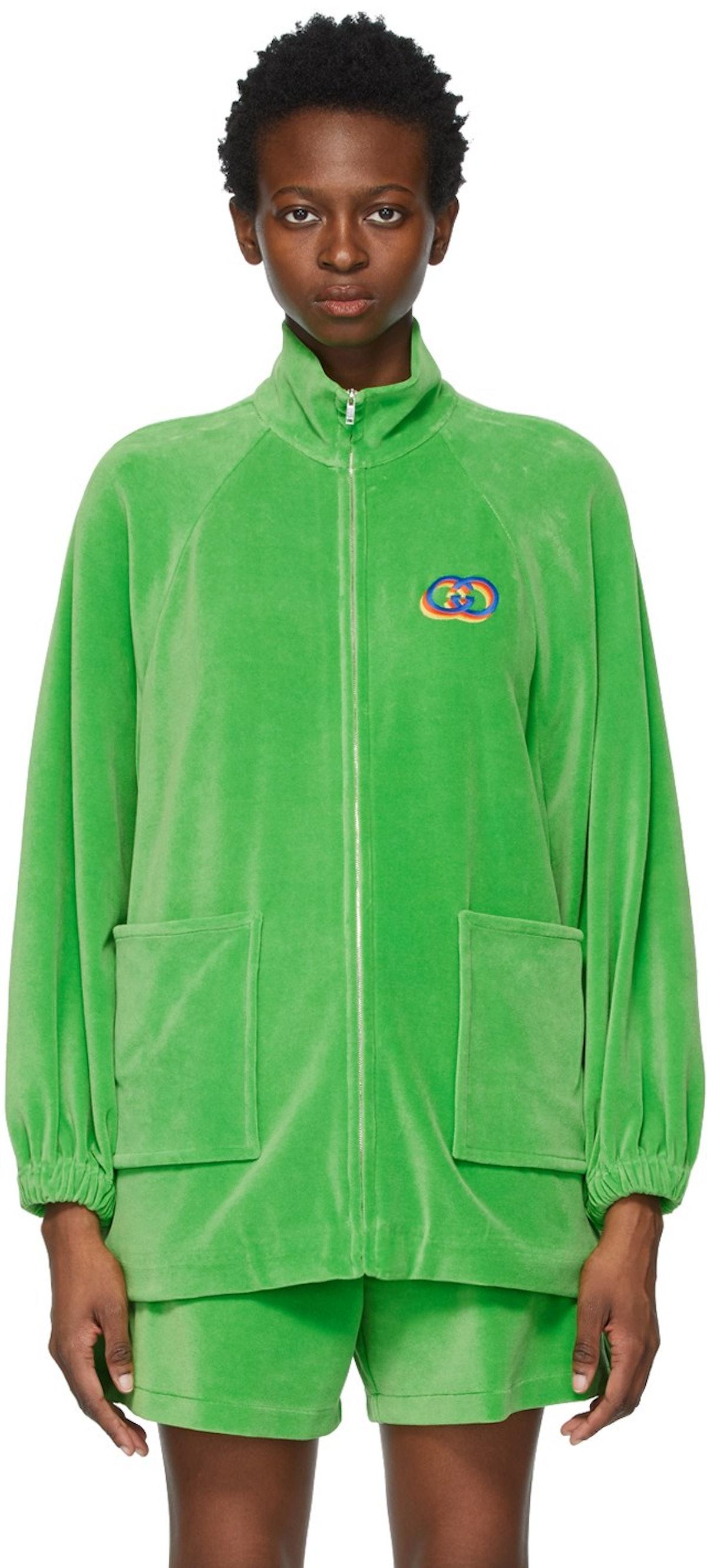 Green Velour Zip-Up Sweater