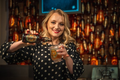 Evanna Lynch at the Harry Potter New York Butterbeer Bar.