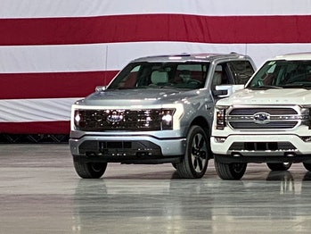 Ford's all-electric F-150 made an appearance at a speech held by President Biden promoting electric vehicles and green energy.