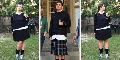 I tried dressing like David Rose from 'Schitt's Creek' in a skirt, sweater, and Converse shoes