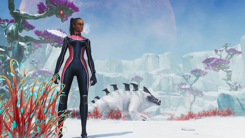 subnautica below zero hero robin standing on ice