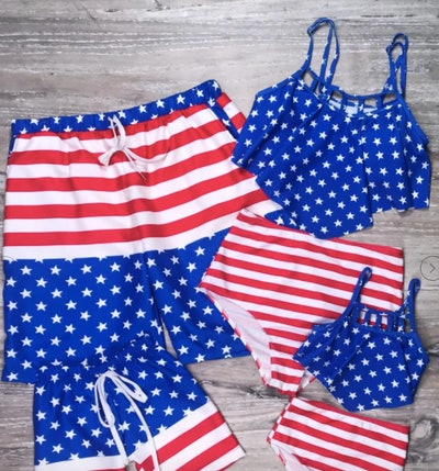 Flag Red & Blue Patriotic Matching Family Swimsuits