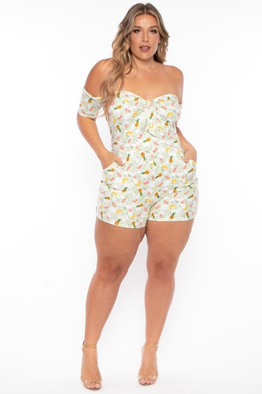 Plus Size Pineapple Tie-Front Rompers