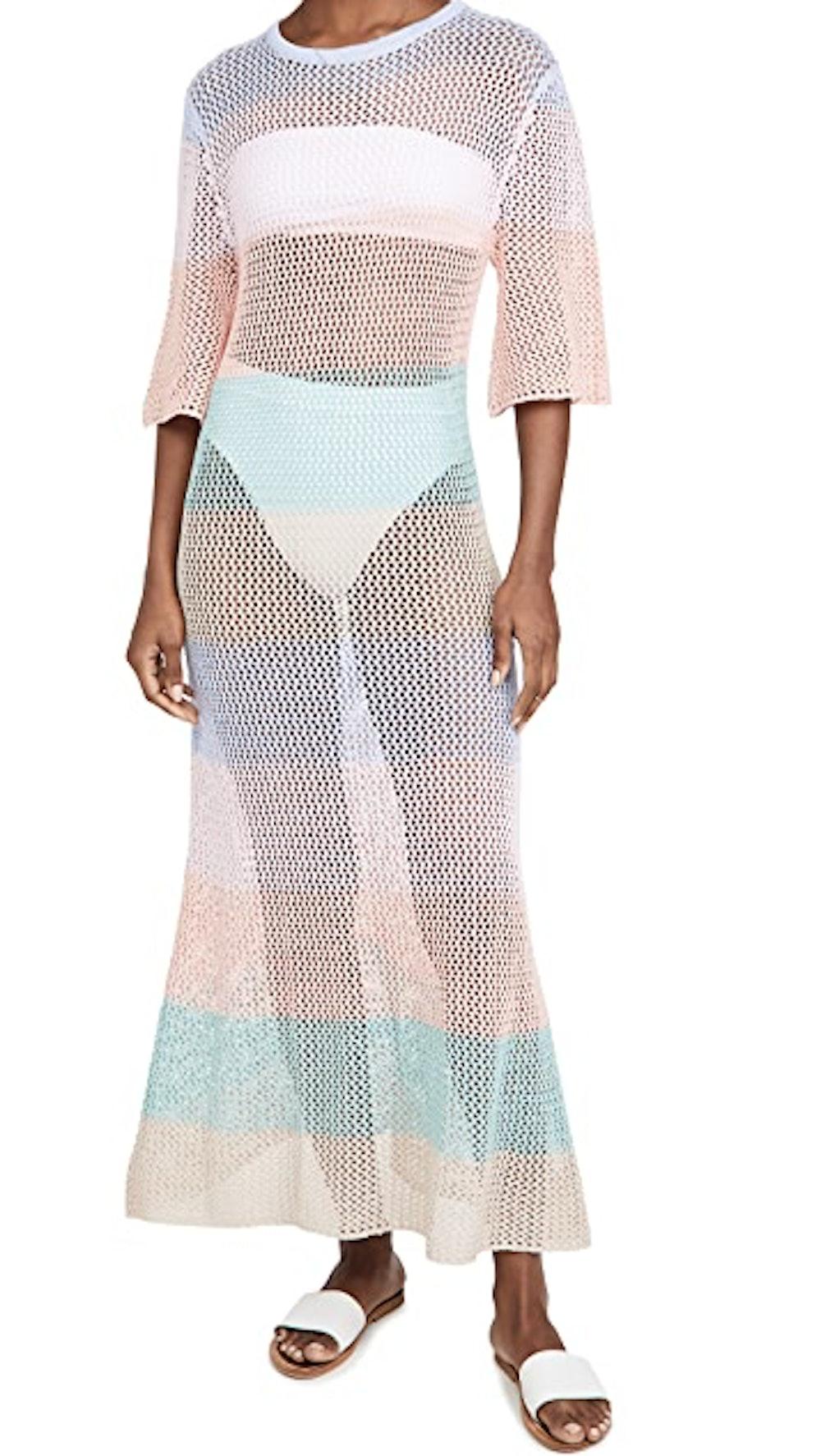 Rainbow Crochet Maxi Dress