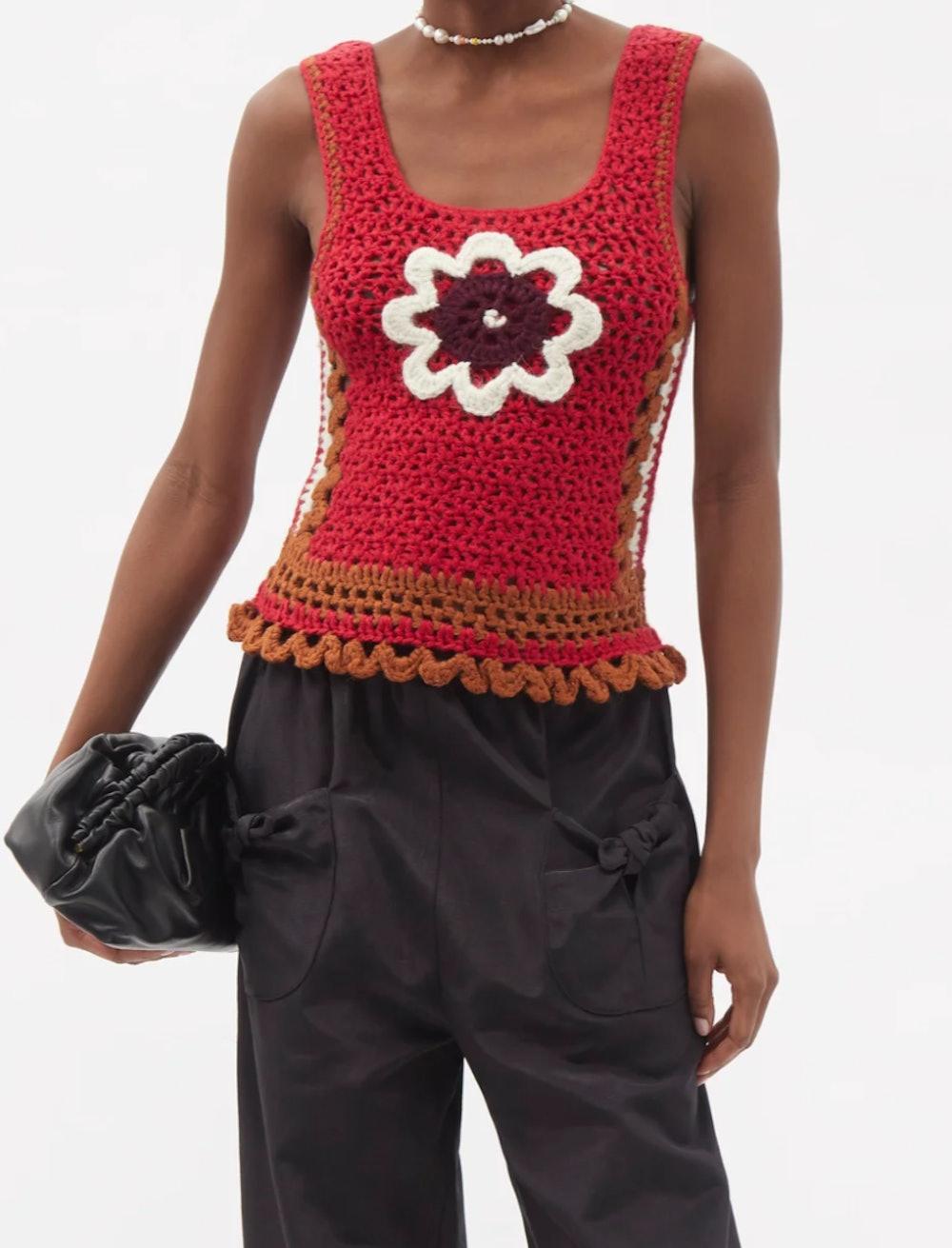 Daisy-Appliqué Crochet Top