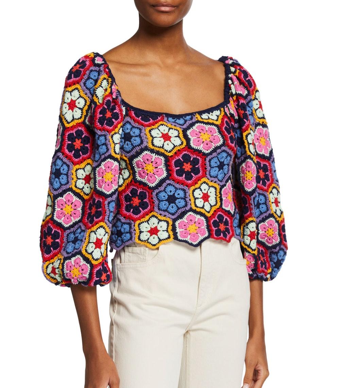 Flower Crochet Voluminous-Sleeve Blouse