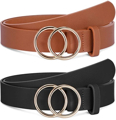 SANSTHS Leather Belts Faux Leather Belt With Double O-Ring Buckle (2-Pack)