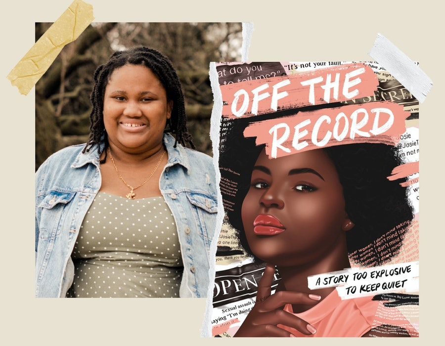 Author Camryn Garrett and the cover of her book, 'Off the Record.'