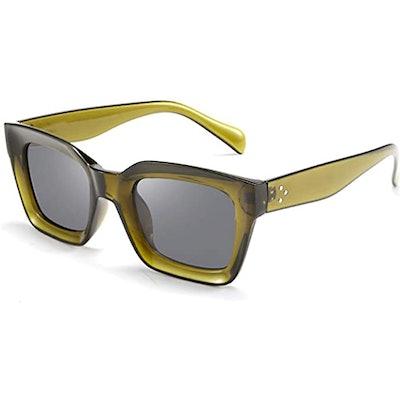 FEISEDY Thick Square Frame Fashion Sunglasses