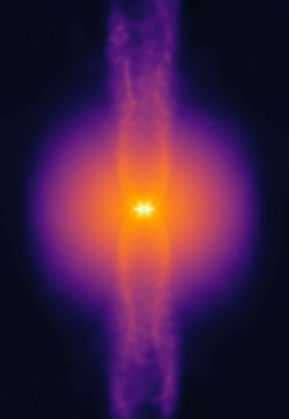 A rotating gas core collapses, forming a central star that launches bipolar jets along its poles as it feeds on gas from the surrounding disk.