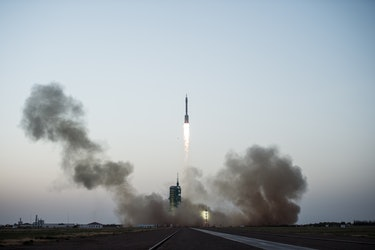 The rocket carrying Shenzhou-11 spaceship blasts off in Jiuquan Satellite Launch Center on October 17, 2016 in Jiuquan, China. China sent two astronauts to Tiangong-2 space station for a 33-day space mission.