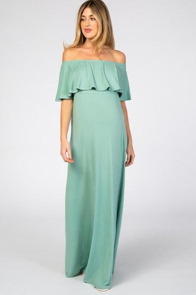 Light Olive Off Shoulder Maxi Maternity Dress