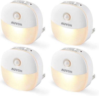 AUVON Plug-in LED Motion Sensor Night Lights (4-Pack)