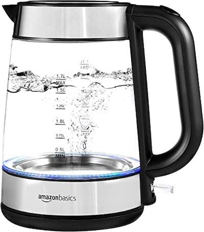 Amazon Basics Electric Glass and Steel Kettle