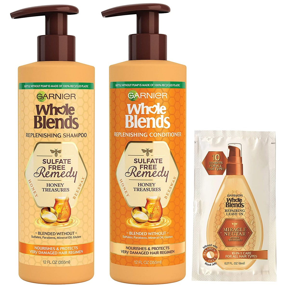 Garnier Haircare Whole Blends Sulfate Free Best Drugstore Sulfate-Free Shampoos - Remedy Honey Treasures Replenishing Shampoo & Conditioner