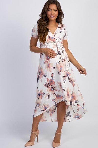 PinkBlush Ivory Watercolor Floral Hi-Low Maternity Wrap Dress