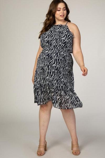 Navy Animal Print Sleeveless Plus Maternity Midi Dress