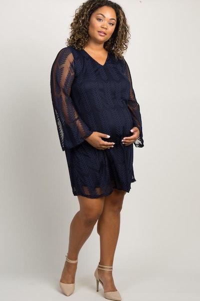 PinkBlush Navy Chevron Mesh Overlay Plus Maternity Dress
