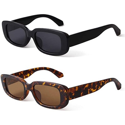 BUTABY Narrow Rectangle Sunglasses (2-Pack)