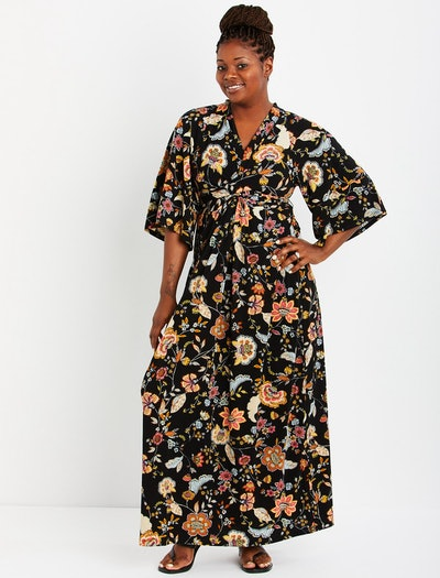 Jessica Simpson Plus Size Wrap Kimono Sleeve Maternity Dress