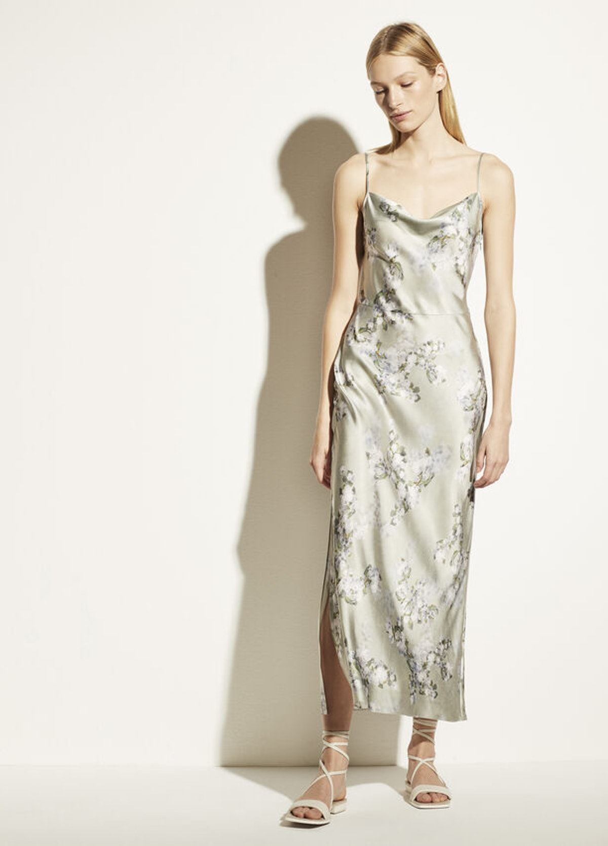 Hazy Blossom Cowl Neck Slip Dress