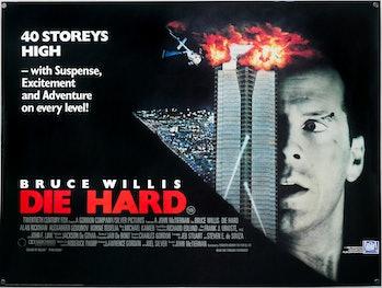 die hard movie poster featuring nakatomi plaza