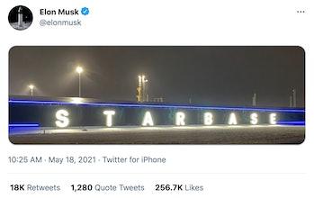 Musk's Starbase post.