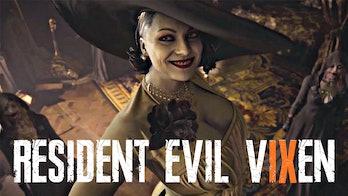 resident evil 9 vixen logo mock up with lady dimitrescu