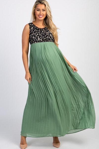 Sage Pleated Chiffon Lace Top Maternity Maxi Dress