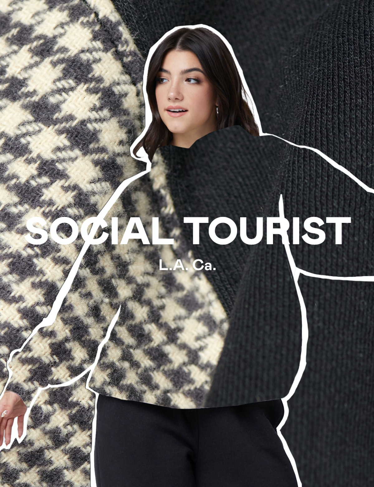 Charli D'Amelio models fabrics and clothing items in the promotional images for her and sister Dixie's new clothing brand Social Tourist.