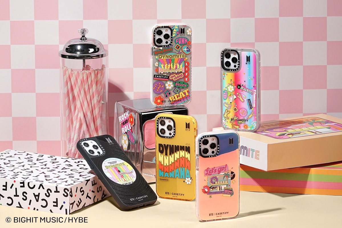 """The BTS x Casetify collection includes several phone cases inspired by """"Dynamite."""""""