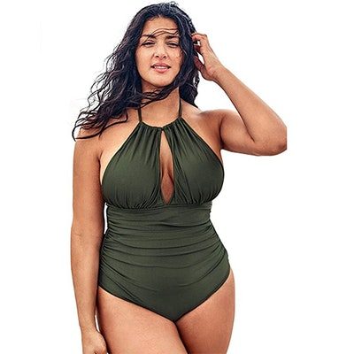 CUPSHE Plus-Size Shirred Halter One-Piece Swimsuit